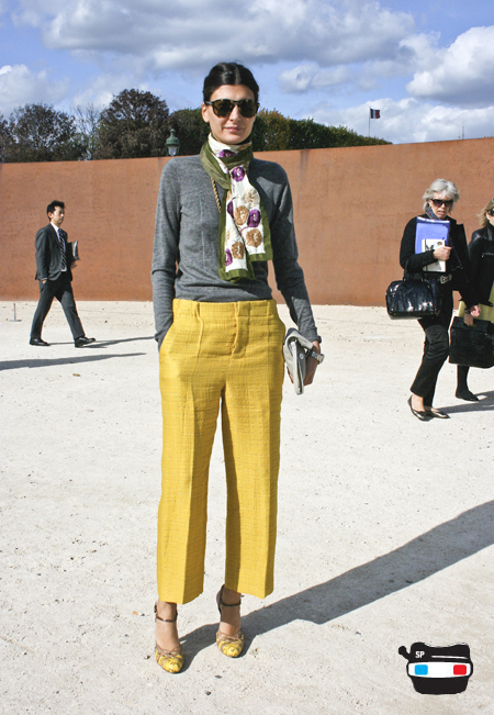 Giovanna Battaglia of L'Uomo Vogue_Marni pants_Grey Calvin Klein sweater_Martin Margiela heels_ dries van noten scarf